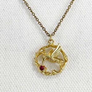 Hummingbird goldtoned pendant necklace